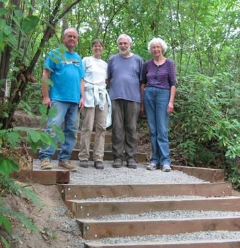 Main stair volunteers Dave Kreul, Karen Story, Doug Murray, and Trudy Loder