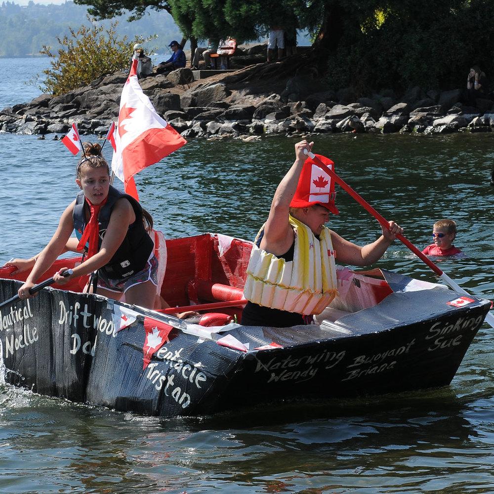 The Moss Bay Cardboard Boat Regatta held at Kirkland Summerfest.
