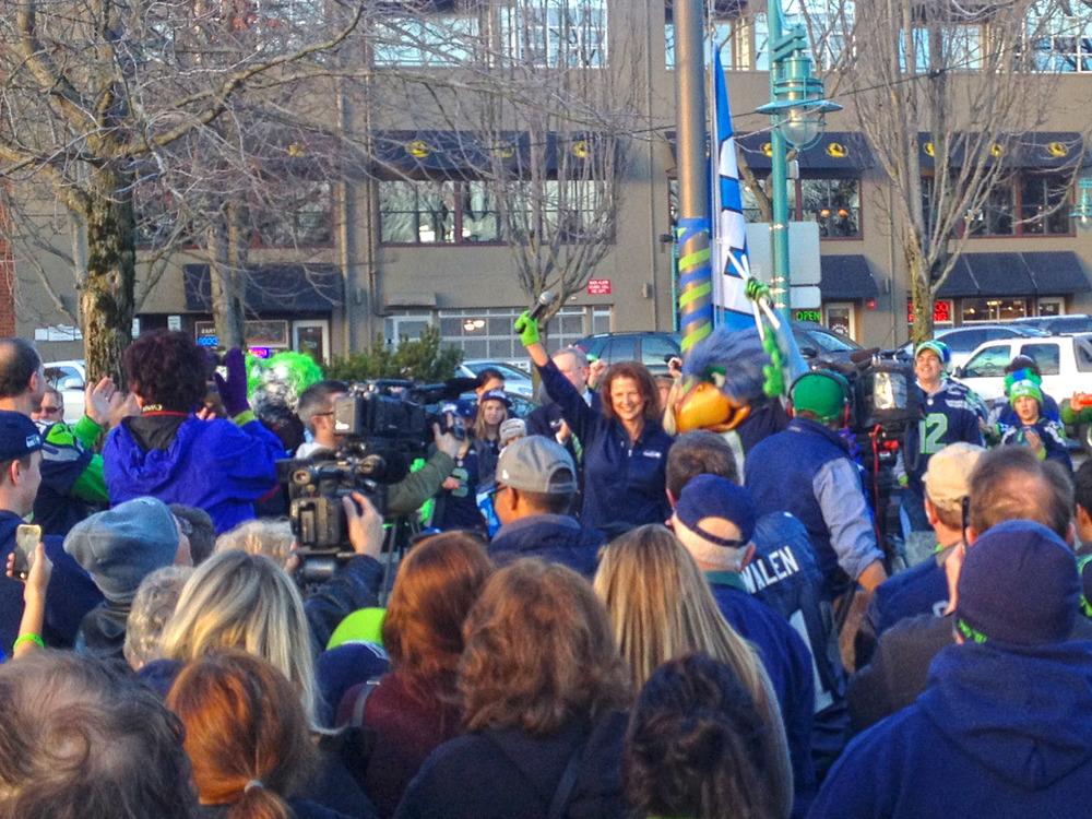 Mayor Walen raises the 12th Man flag