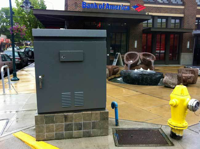 At the corner of Lake Street and Kirkland Ave, pedestrians encounter this utility box.