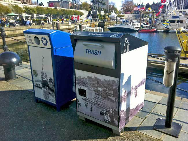 Even the garbage and recycling cans look nicer in Victoria, BC