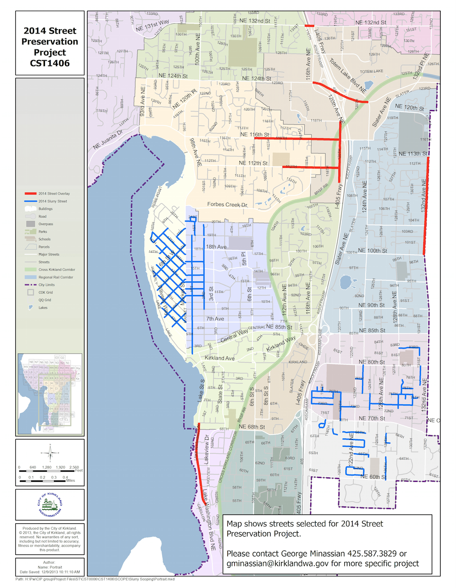 This map illustrates in red the arterials Kirkland will be overlaying this summer. Roads highlighted in blue will be preserved in August with a mixture of emulsified asphalt and sand, called slurry seal. Kirkland's street maintenance crews overlaid one lane of Northeast 132nd Street, below I-405.
