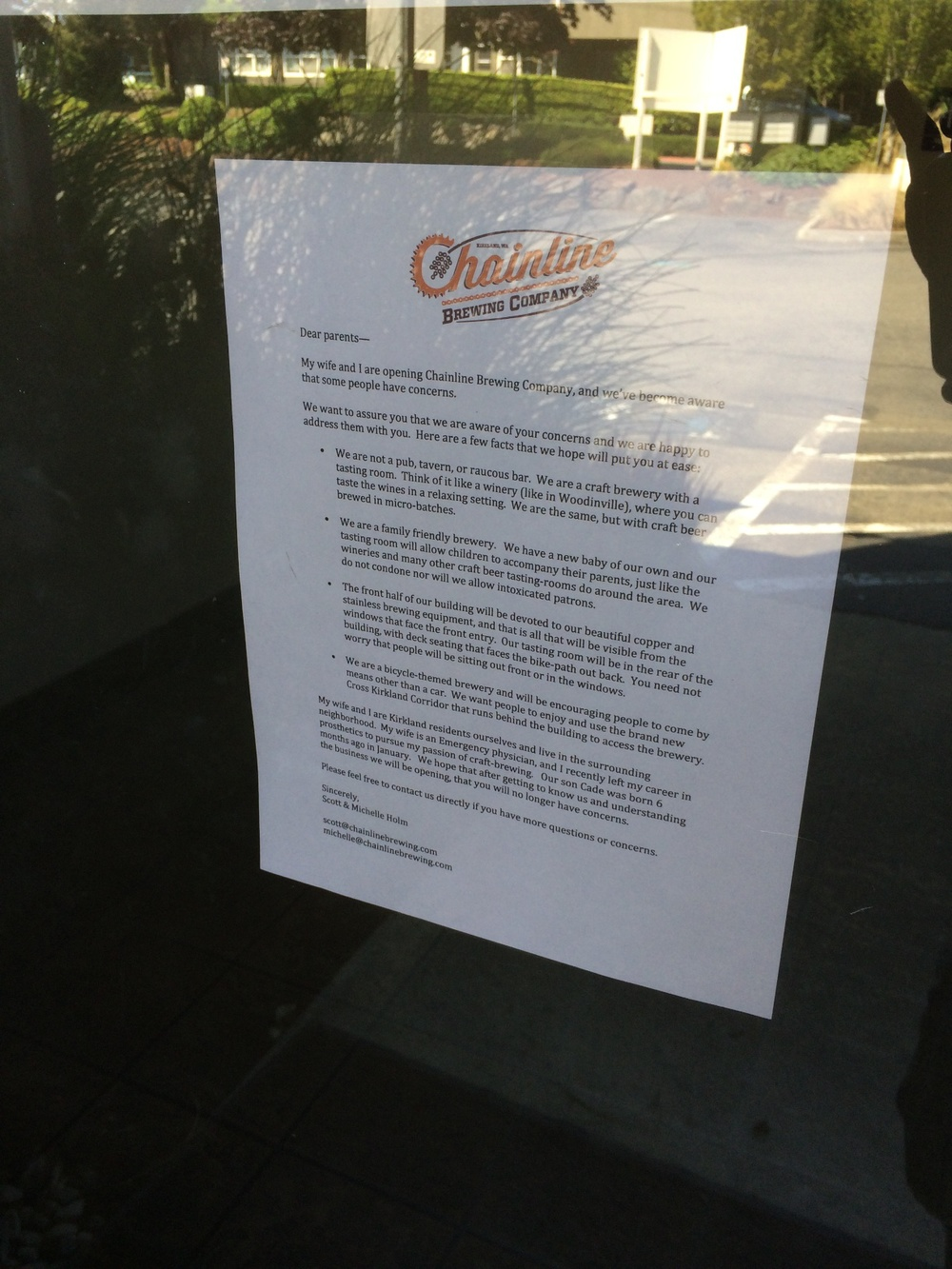 A letter from Chainline to concerned parents.