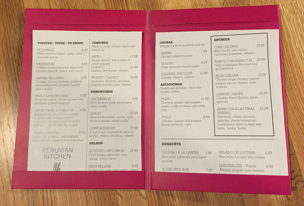 Update: here is a photo of the menu.