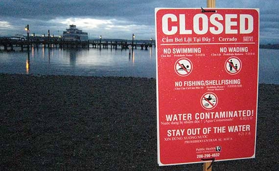 In 2011, a similar incident at the sewage pump station caused the county to close the beach at Marina Park.