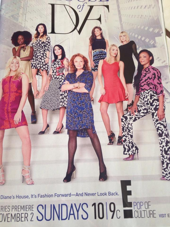 Advertisement for House of DVF, InStyle Magazine. Kier is on the right, blonde hair, in the red dress.