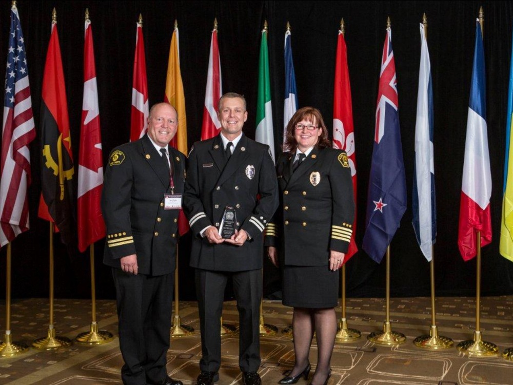 Pictured L to R: Steve Taylor, Battalion Chief, Shoreline Fire Department; Capt. Bill Hoover, and Deputy Chief Helen Ahrens-Byington, Kirkland Fire Department.