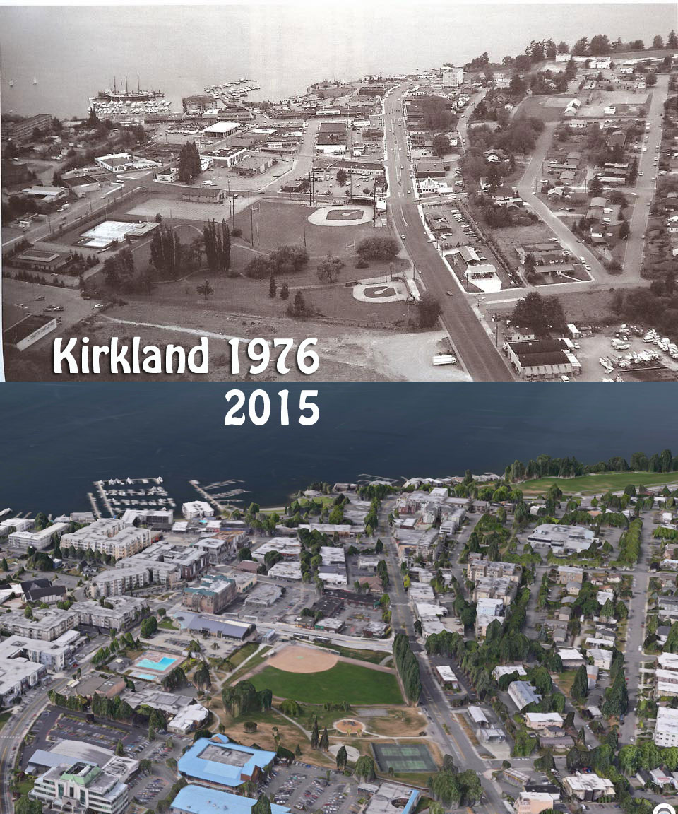 """The 1976 image was posted on the Facebook Page """"you know you're from kirkland if..."""" and the 2015 rendering was created in apple maps"""