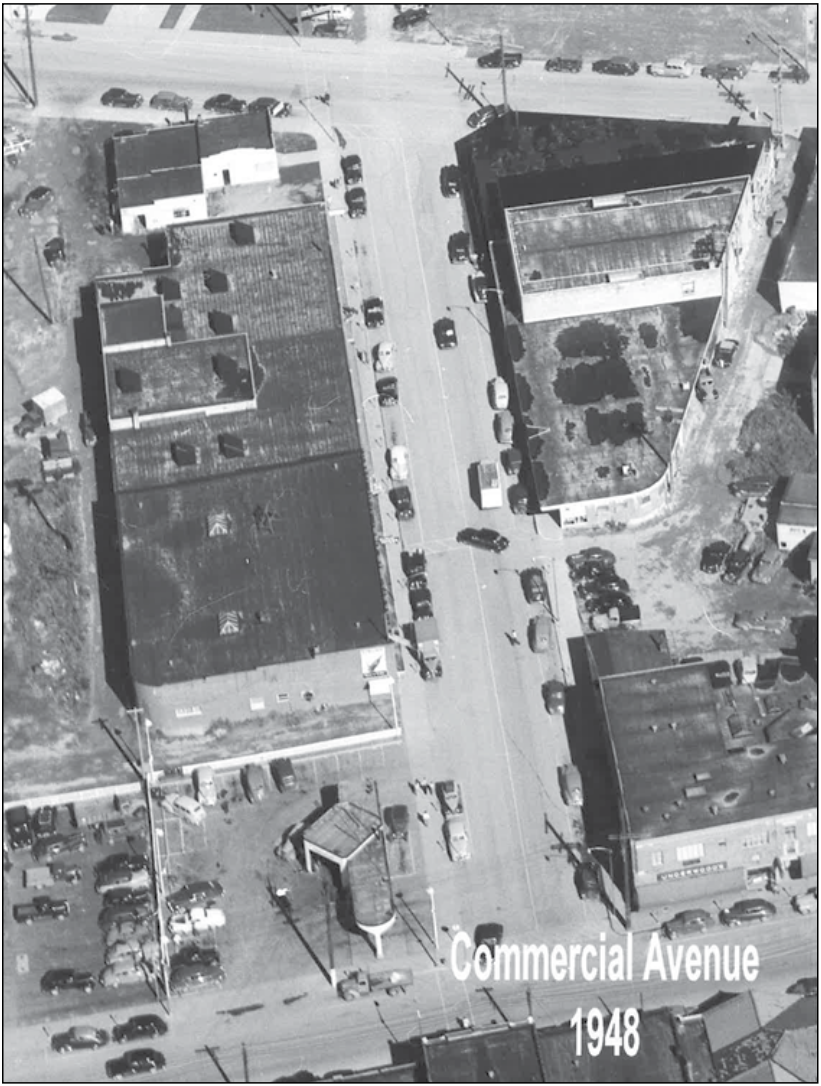 An areal view of Park Lane from 1948, then named Commercial Avenue.