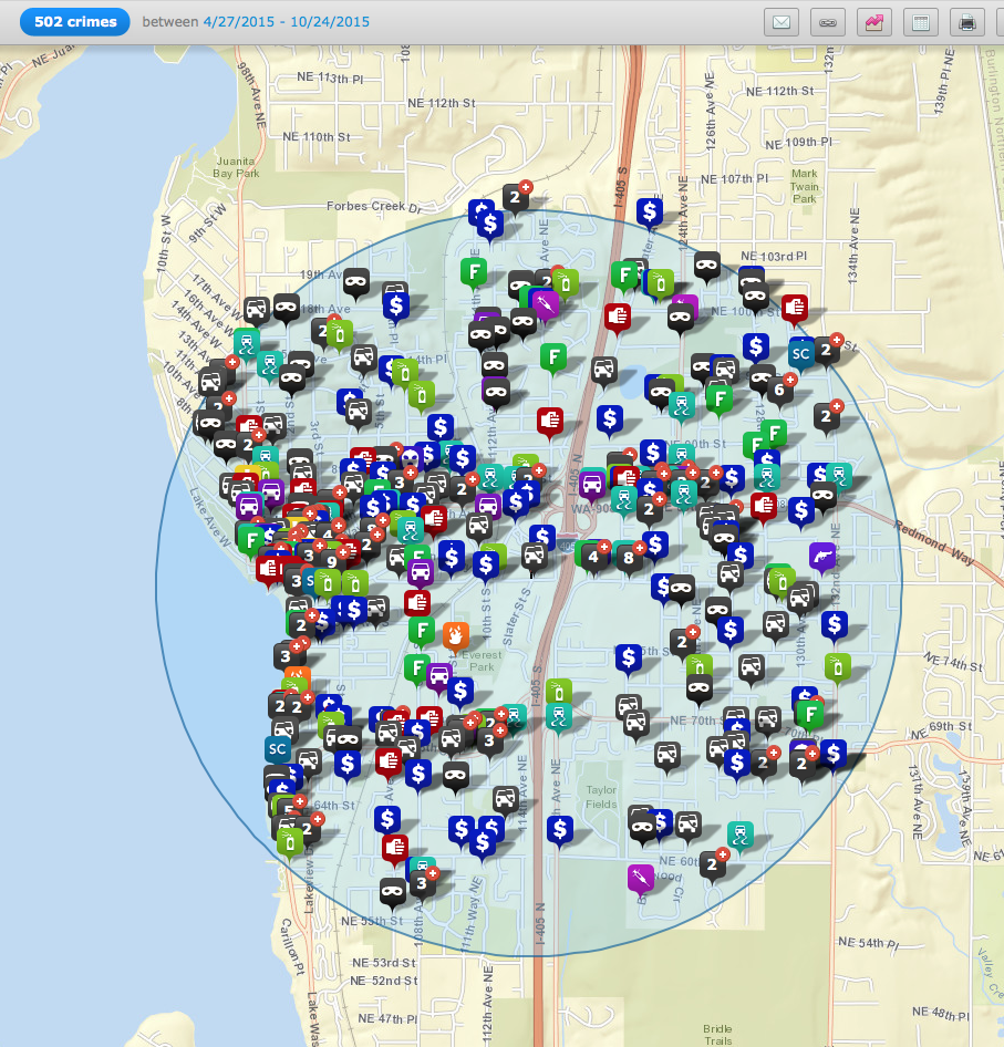 502 crimes were committed in zip code 98033 between April 27, 2015 and October 24, 2015 (with a 2 mile search radius).