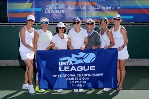 Adult 55 & Over 7.0 Women's Runner-up:PACIFIC NORTHWEST (Kirkland, WA.); L to R: Valarie Kaye, Lanise Laffoon Laube, Noriko Uehara, Nancy Foote Edwards (Captain), Linda Elefante, Cindy Hutter, Maren Holmquist Gibson