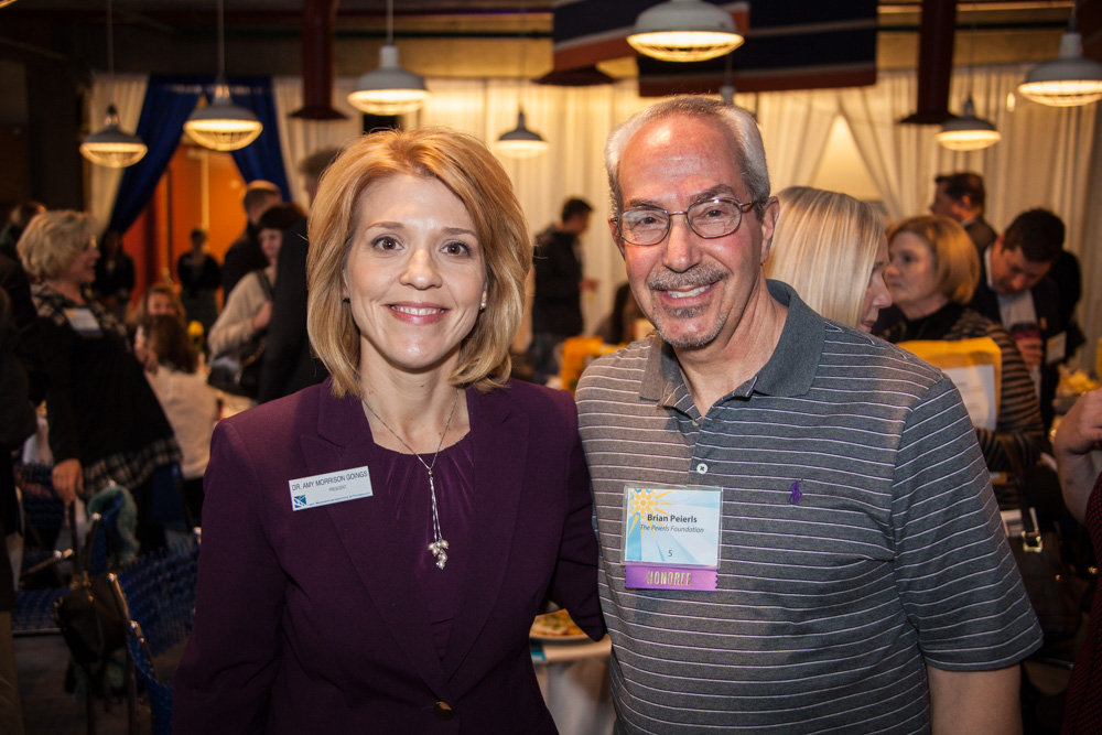 Pictured left-to-right, Dr. Amy Morrison Goings, President, Lake Washington Institute of Technology, and Brian Peierls of the Peierls Foundation.