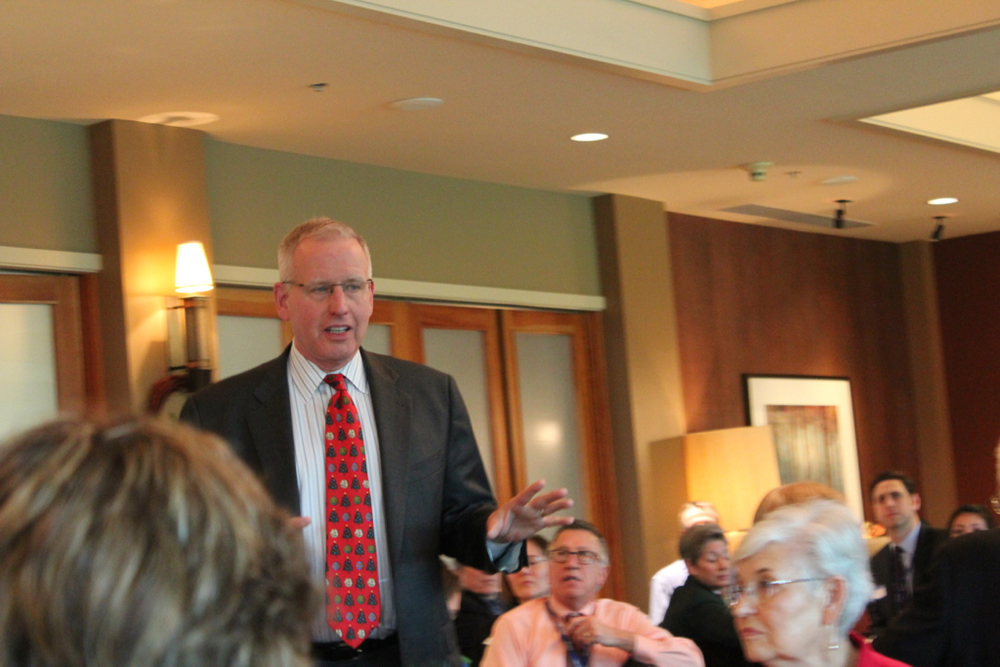 EvergreenHealth CEO Bob Malte discusses the health system's partnership with Lake Washington School District at the Sammamish Chamber of Commerce luncheon on December 17, 2015.