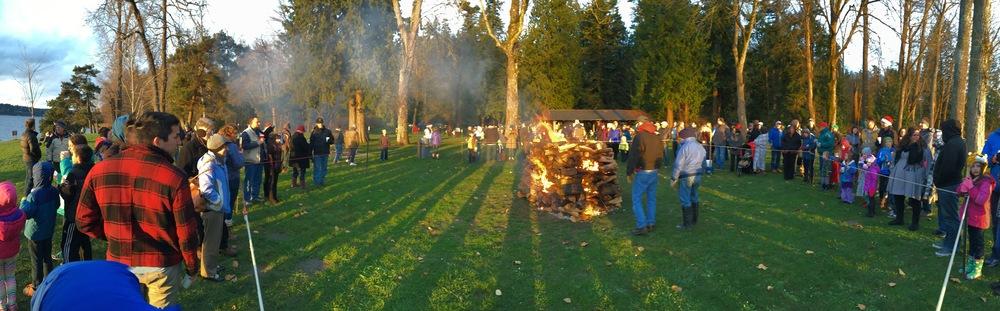 A huge bonfire kept everyone warm.
