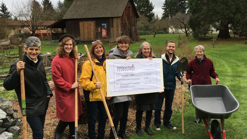 Left to right: Jenny Schroder - Kirkland Parks and Community Services; Emily Hudspeth, Dana Nunnelly & Sally Otten - Kirkland Parks Foundation; Andrea Dwyer & Chris Hoffer - Seattle Tilth and Nona Ganz - Kirkland Parks Foundation