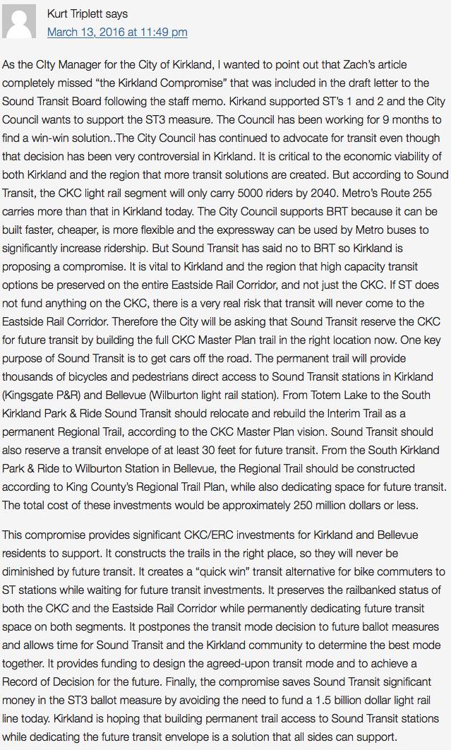 Kurt Triplett's comments on seattletransitblog.com