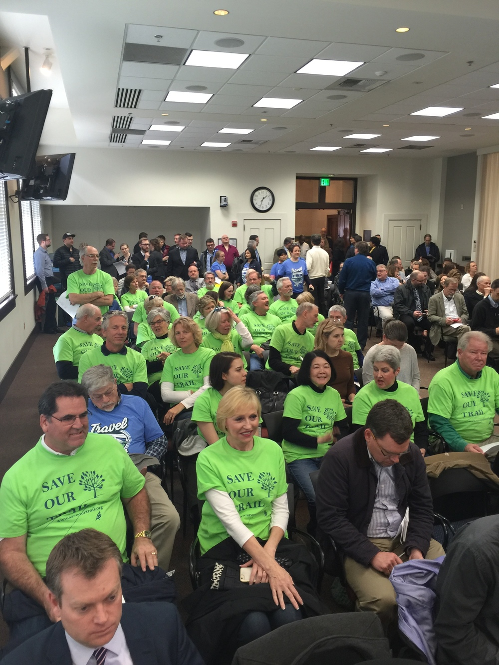 The 'Green Shirts' supporting Save Our Trail at the Sound Transit Board Meeting.
