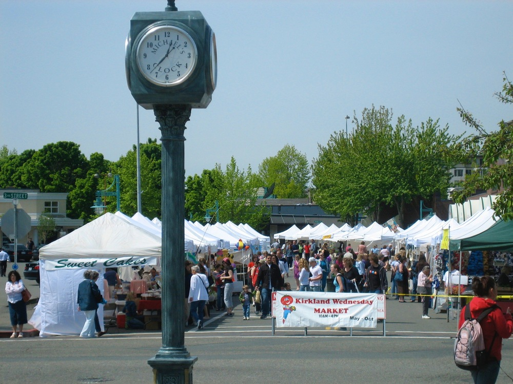 In 2006, the Kirkland Wednesday Market was on Park Lane. This vantage from 3rd St. looking west.