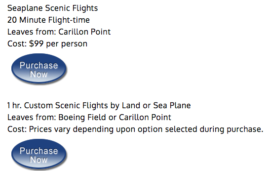 Screenshot from www.seaplanescenics.com showing scenic flights departing from Carillon Point for $99.