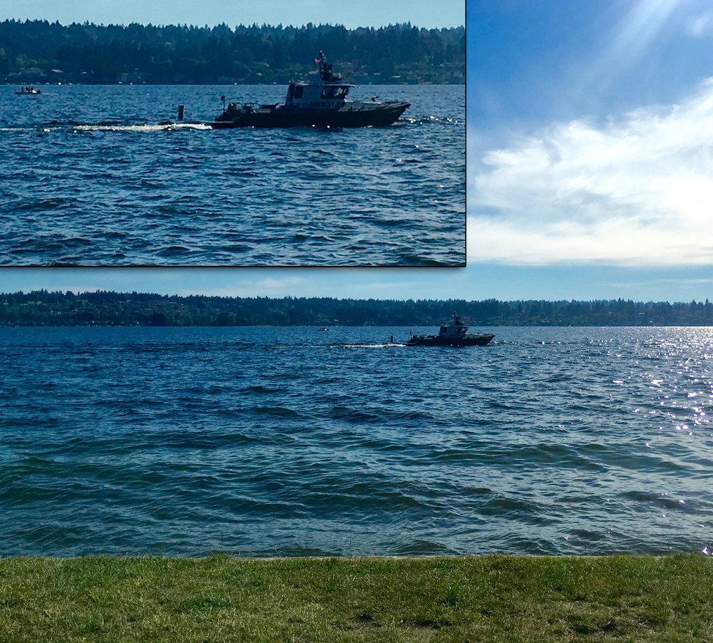 King County Patrol Boat close to shore at O.O. Denny Park on Sunday.