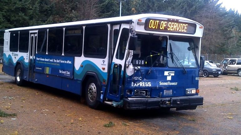 A Sound Transit Bus which has seen better days.