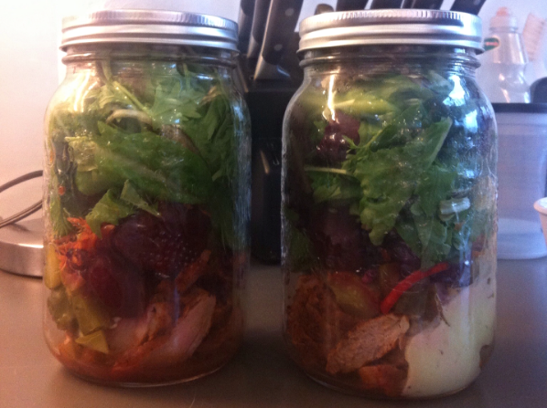 Smokey dry-rubbed pork tenderloin apple and dijon mustard salad-in-a-jar