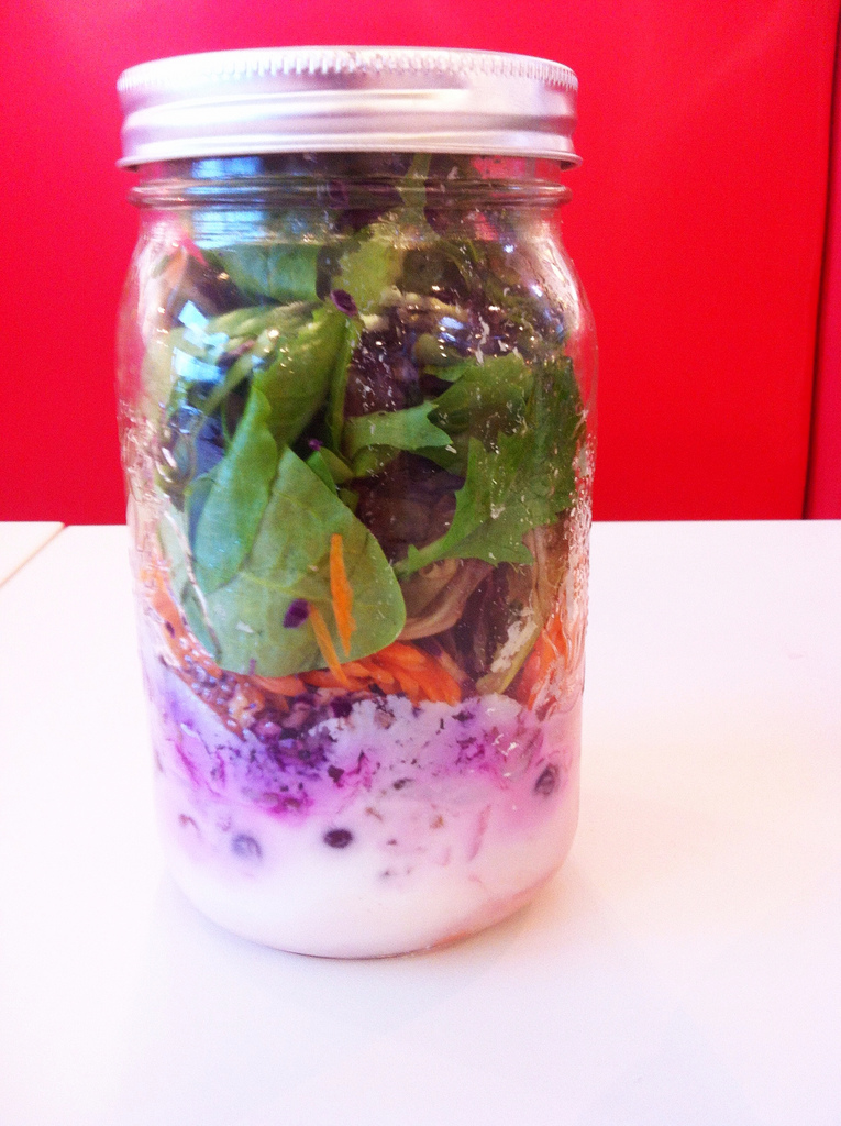 Berries and cream tuna pecan salad-in-a-jar with coconut milk and apple cider vinegar