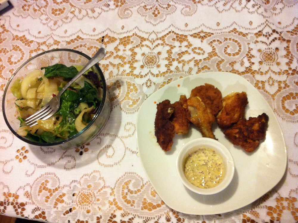 "Fried chicken fingers with creamy ""honey"" Dijon dipping sauce and hush-puppy spicy steamed cabbage salad - the creamy honey Dijon is darned good as a salad dressing in its own right!"