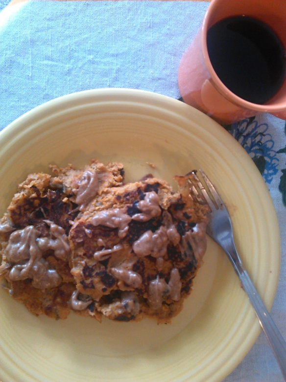 Bailey's sweet potato and banana pancakes with almond butter.  Plus black coffee on the side!  My dream breakfast.