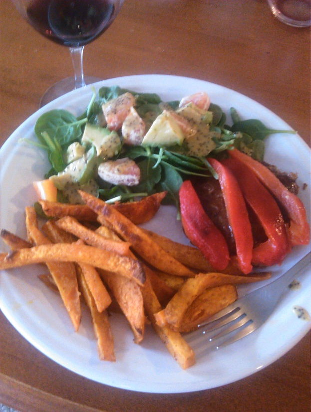 "Hamburger with roasted red pepper and sweet potato fries, with a side of avocado grapefruit n' greens, aka Bailey's ""the best salad ever""! Make a double portion and take it for lunch on extra greens the next day."