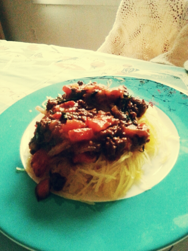 Spaghetti (squash) with ground beef tarragon marinara