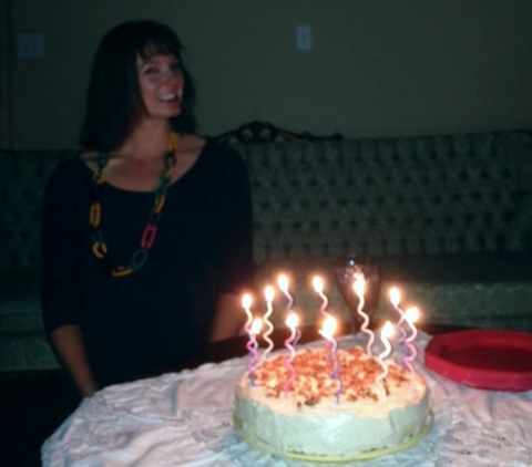 "Blurry birthday pictures mean everyone is celebrating correctly: the most delicious cake I have ever eaten, full stop: my sister Glennis made the ""Breaking bad with carrot cake"" Paleo+cream cheese carrot cake from Cavewoman Cafe."