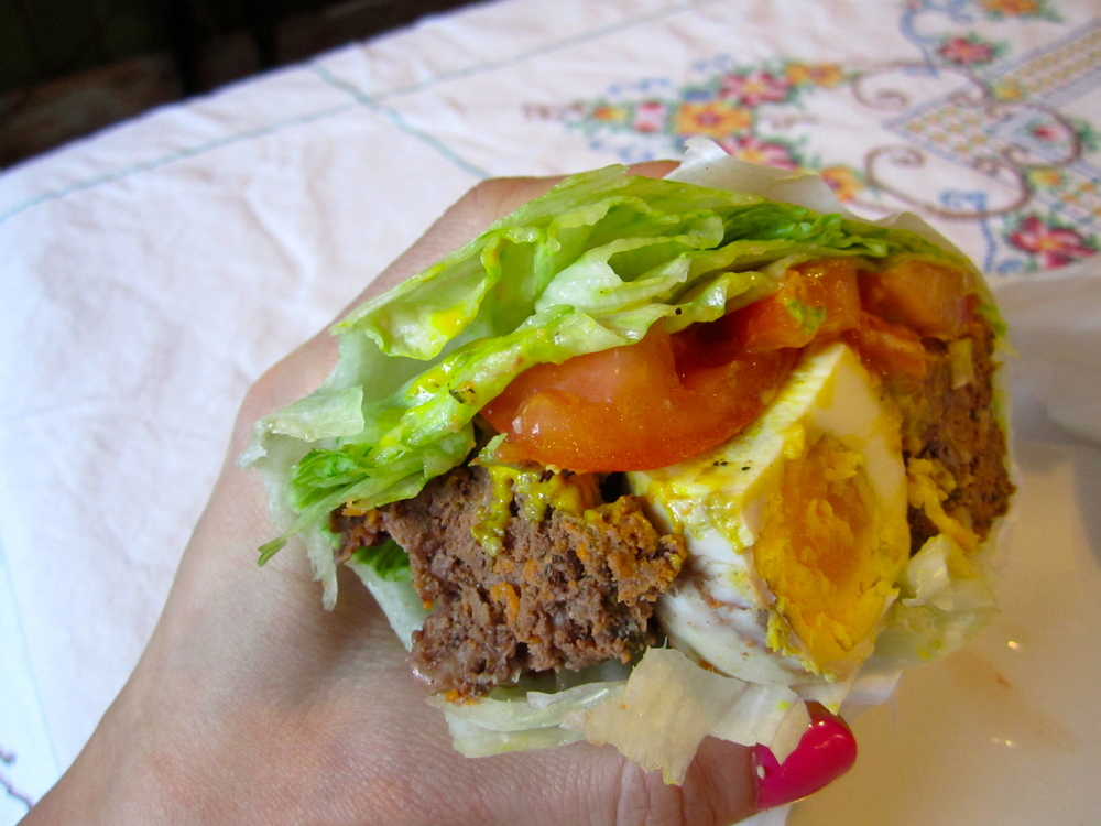 Walnut and herb scotch-egg style meatloaf unwiches: so, so tasty.