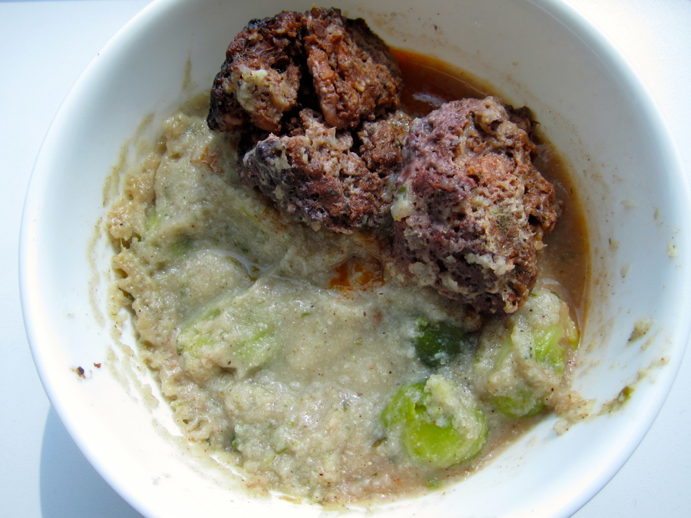 Easy creamy without cream tarragon cauliflower soup with mini walnut meatloafs and Brussels sprouts