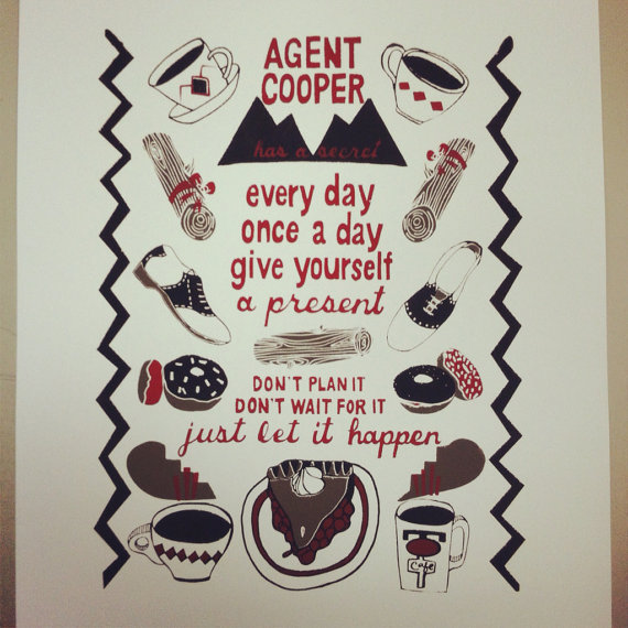 Pie and black coffee with the uber-foxy Dale Cooper; brilliant silk screen by PatchworkPrintshop on etsy.com