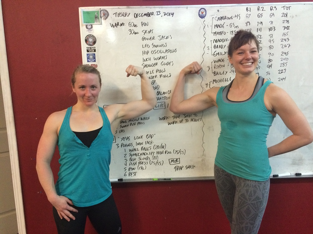 """Bailey and me after the Christmas Eve """"Fight Gone Bad"""" workout."""