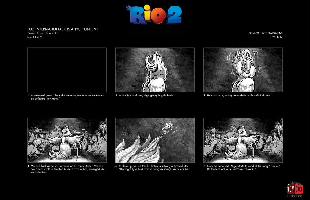 """""""Rio 2"""" - Storyboard Concept 1, Page 1"""