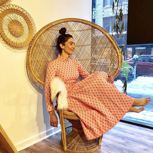 dreamy pink prints to brighten up these winter days... all MFV clothing is 20-30% off this week. also, this peacock chair from @buttercuplanevintage gives me all the feels.