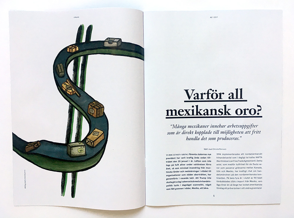 Illustration till artikel om amerikansk tullavgift
