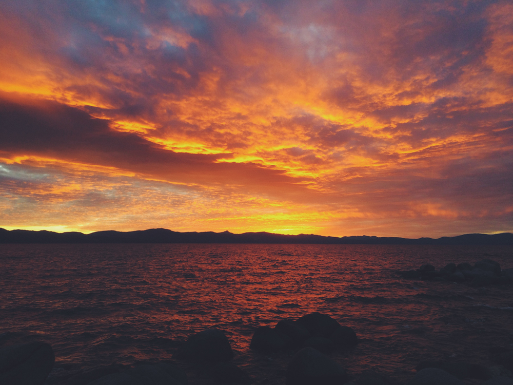 sunset on lake tahoe. i shot a wedding here the next day.