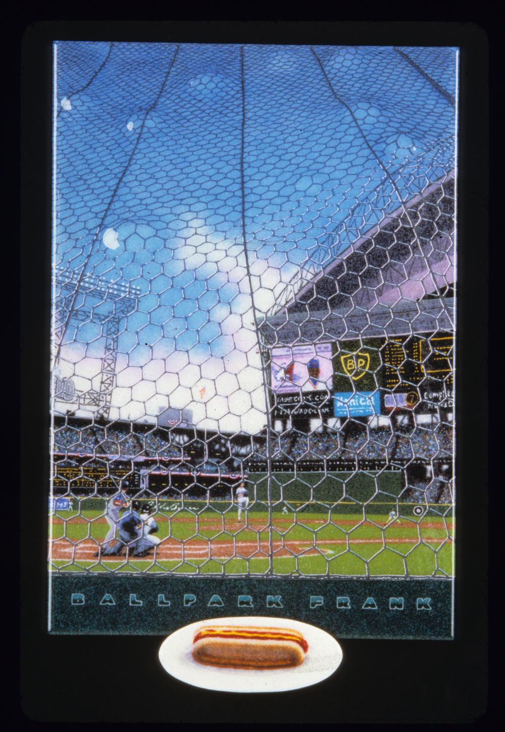 "Ballpark Frank, 24"" x 36"" x 1.5"", Fused and slumped glass"