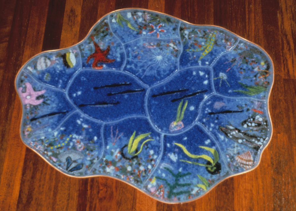 "Tidepool, 36"" x 48"" x 1"", cast glass floor piece"
