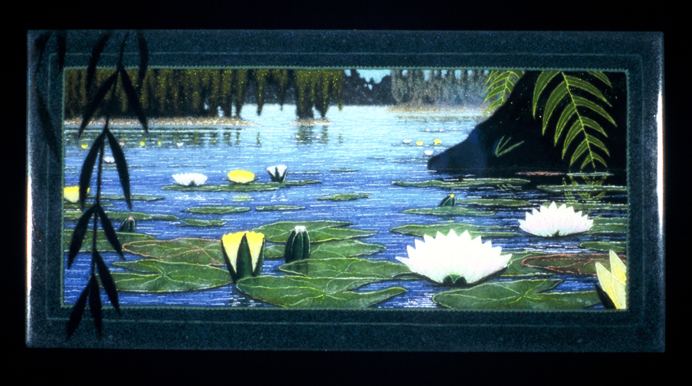 "The Pond, 18"" x 42"" fused glass wall piece"