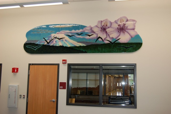 "Boomerangs, 2010, 3'6"" x 12', Kiln formed glass  Daybreak K-8 School Media Center School  Foyer, Battleground, WA  Washington State Arts Commission, Percent for Art"