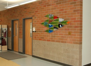 "Encycleafpedia, 2010, 6' w x 4'6"" h, Kiln formed glass  Daybreak K-8 School Middle School  Foyer, Battleground, WA  Washington State Arts Commission, Percent for Art"