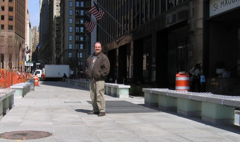 "Wall Street Park bench base, 2004,  16"" w x 24"" L x 12"" h  Cast glass  Lower Manhattan Redevelopment Project, New York, New York"