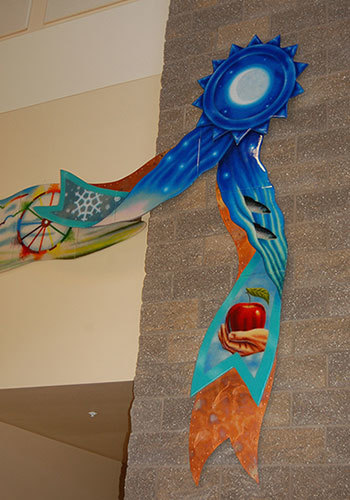 Blue Ribbon Livin',  detail   Valley K-8 School Entryway, Valley, WA  Washington State Arts Commission, Percent for Art Program