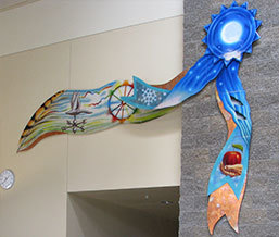 Blue Ribbon Livin', 14' w x 10' h, Kiln formed glass  Valley K-8 School Entryway, Valley, WA  Washington State Arts Commission, Percent for Art Program