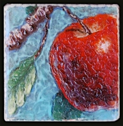 "The Apple,  6"" x 6"" Palette knife glass"