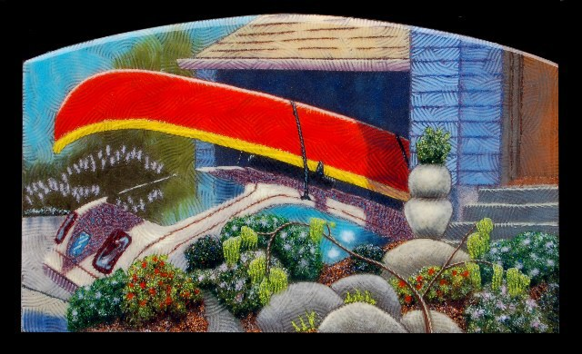 "The Red Canoe, 48"" x 24"""